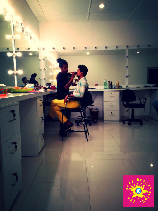K getting ready for his TV interview at MTV studios