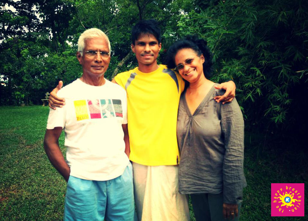 K with his parents after completing the 5 day program
